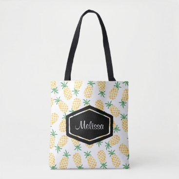 Beach Themed Personalized watercolor pineapple tote bag