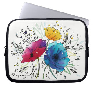 Personalized Watercolor pink & blue Fairy Poppies Laptop Sleeve