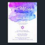 """Personalized Watercolor Purple Blue Bat Mitzvah Invitation<br><div class=""""desc"""">Lovely modern custom BAT MITZVAH watercolor (watercolour) purple,  violet,  blue,  turquoise colors.  Star of David in the middle.  Perfect for any 12 year old Jewish girl.  Contact designer for other variations.</div>"""