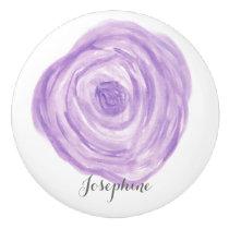 Personalized Watercolor Purple Flower Ceramic Knob
