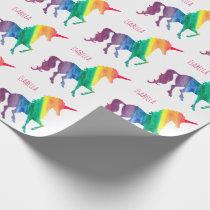 Personalized Watercolor Rainbow Unicorns Pretty Wrapping Paper
