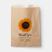 Personalized Watercolor Sunflower Fall Wedding Favor Bag