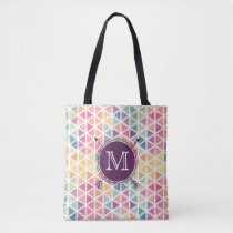 Personalized Watercolor Triangle Pattern Tote