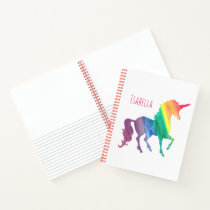 Personalized Watercolor Unicorn Trendy Beautiful Notebook