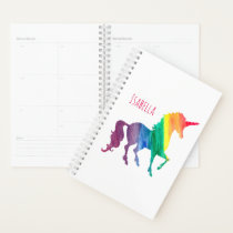 Personalized Watercolor Unicorn Trendy Beautiful Planner