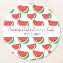 Personalized Watermelon Pattern Summer Party Round Paper Coaster