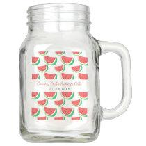 Personalized Watermelon Pattern Summer Party, Summ Mason Jar