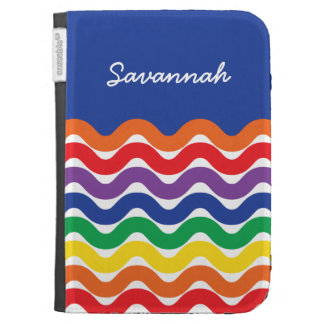 Personalized Wavy Rainbow of Colors Cool Case Kindle 3 Covers
