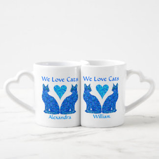 Personalized We Love Cats Blue Sitting Cat Mugs