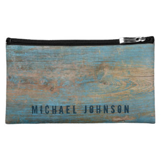 Personalized Weathered Blue Peeling Paint Wood Cosmetic Bag