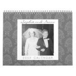 Personalized Wedding 17 Photo and Damask Patterns Calendar