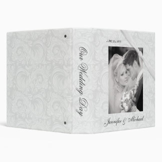 Personalized Wedding Album - White Damask Binder