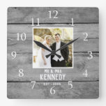 Personalized Wedding Anniversary Photo Rustic Wood Square Wall Clock