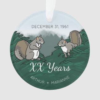 Personalized Wedding Anniversary Squirrels Ornament