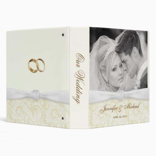 Personalized Wedding Binder - Ivory & Gold Damask