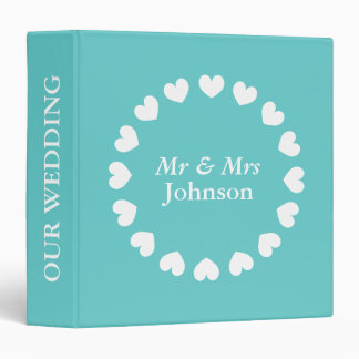 Personalized wedding binder | Turquoise and white.