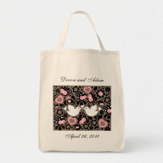 "Personalized Wedding/Bridal Tote Bag ""Love Birds"""