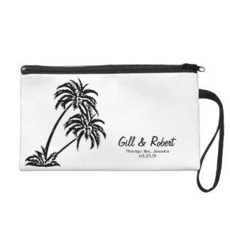 Personalized Wedding Bride Gift Palm Trees Island Wristlet Purse