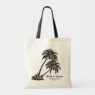 Personalized Wedding Bride's Gift Palm Trees Tote Bag