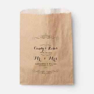 Personalized Wedding Candy Bar Buffet or Popcorn Favor Bag