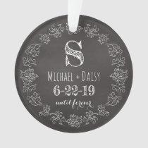 Personalized Wedding Chalkboard Monogram Date Ornament