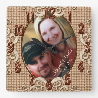 Personalized Wedding Clock PHOTO, Names, Date