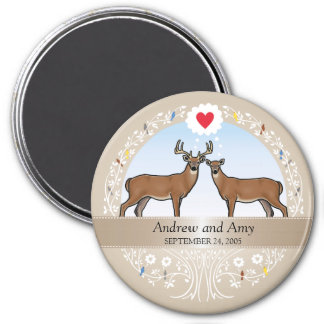 Personalized Wedding Date Anniversary, Buck & Doe 3 Inch Round Magnet