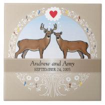 Personalized Wedding Date Anniversary, Buck & Doe Ceramic Tile