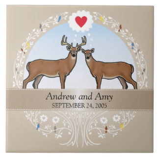 Personalized Wedding Date Anniversary, Buck & Doe Ceramic Tile