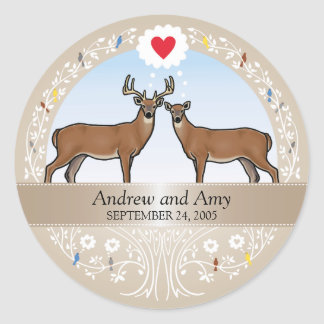 Personalized Wedding Date Anniversary, Buck & Doe Classic Round Sticker