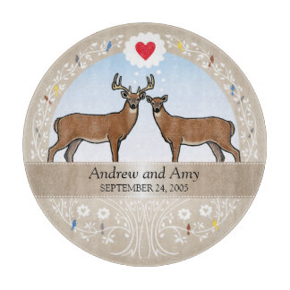 Personalized Wedding Date Anniversary, Buck & Doe Cutting Board