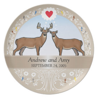 Personalized Wedding Date Anniversary, Buck & Doe Dinner Plate