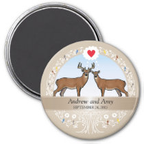 Personalized Wedding Date Anniversary, Buck & Doe Magnet