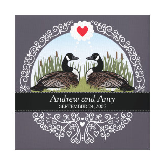 Personalized Wedding Date Anniversary, Geese Canvas Print