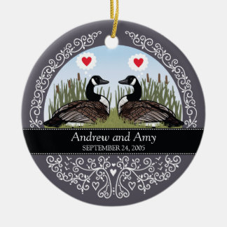 Personalized Wedding Date Anniversary, Geese Ceramic Ornament
