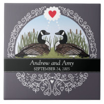Personalized Wedding Date Anniversary, Geese Ceramic Tile