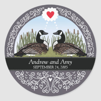 Personalized Wedding Date Anniversary, Geese Classic Round Sticker