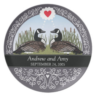 Personalized Wedding Date Anniversary, Geese Dinner Plate