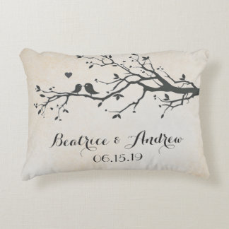 Personalized Wedding Date Anniversary Love Birds Decorative Pillow