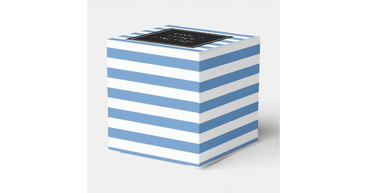 Personalized Wedding Favor Box Blue White Stripe Zazzle