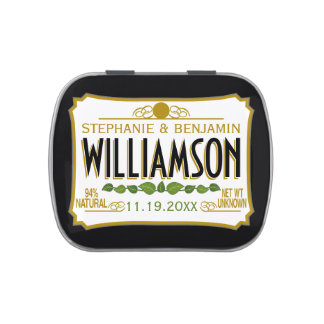Personalized Wedding Favor - Bride Groom Name Date Jelly Belly Tin