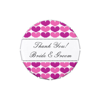 Personalized wedding favor   Candy tin with hearts