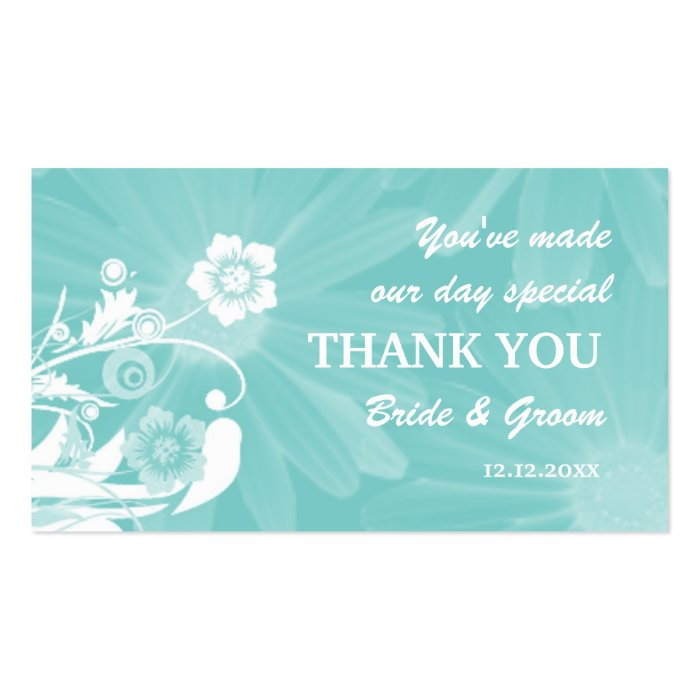 Personalized wedding favor gift tags aqua green business for Personalized gift cards for businesses