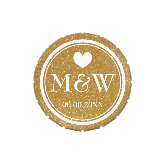 Personalized wedding favor gold glitter heart candy tin