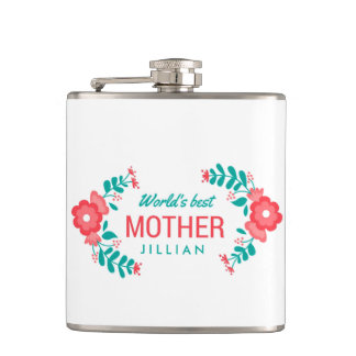 Personalized Wedding Floral World's Best Mom Flask