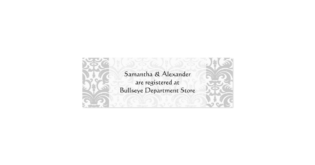 Personalized wedding gift registry cards insert zazzle for Gift cards for wedding registry