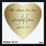 "Personalized Wedding Gold Heart Wall Decal<br><div class=""desc"">Personalized Gold Wedding Heart-shaped Wall Decal. Beautiful gold metal 3D effect printed on wall decal shape of a stylized heart with the ability to personalize the heart wall decal with the bride and groom names, monogram initial, wedding date and your favourite wedding love quote. Or use the one provided ""Two...</div>"