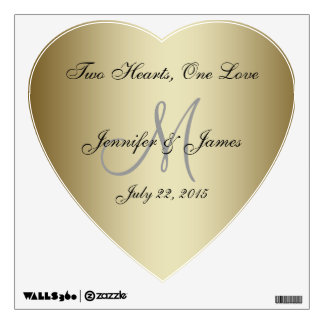 Personalized Wedding Gold Heart Wall Decal