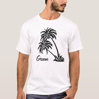 Personalized Wedding Groom's Gift Palm Trees T-Shirt