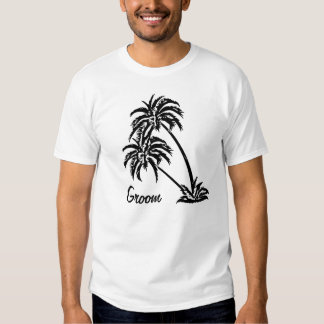 Personalized Wedding Groom's Gift Palm Trees Tee Shirt